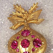 Vintage Raspberry Crystal Christmas Ornament Brooch