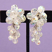 Vintage Cascading Aurora Borealis Crystal Bead Drop Earrings