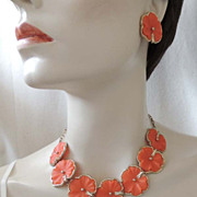 Vintage Tangerine Geranium Leaf Necklace Earrings Bracelet Set Full Parure Fabulous