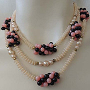 FAB Pink Black Vintage 1950s Pearl Bead Multi Chain Necklace