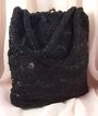 Vintage Hand Made Belgian Purse - Black Jet Seed Bead Handbag