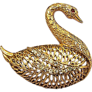 SWAN Open Work Rhinestone Brooch - Gorgeous