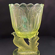 SOLD Yellow Vaseline Depression Glass Vintage Bird Spooner