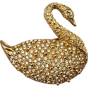 1928 Rhinestone Swan Brooch Pin - Exquisite