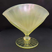FENTON Vintage Florentine Yellow Stretch Satin Glass Fan Vase Depression Glass Book Piece