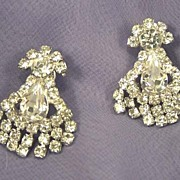ART DECO Vintage Dangle Rhinestone Earrings
