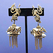 MOP Pagoda and Dragon Drop Earrings and Bracelet Set Rare and Unusual Vintage