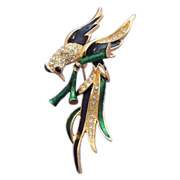 Bird of Paradise Brooch - Stunning Blue Green Enamel and Rhinestone Pin