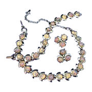 Spectacular Opal Necklace Earrings Bracelet Set Full Parure Vintage