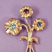 ART DECO Retro Floral Vintage Brass Rhinestone Bouquet Brooch