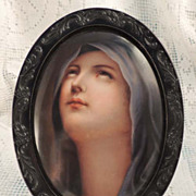 Hand Painted Madonna on Porcelain in Black Oval Frame
