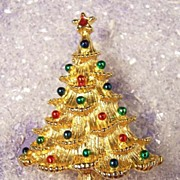 Vintage Enamel Christmas Tree Brooch Pin