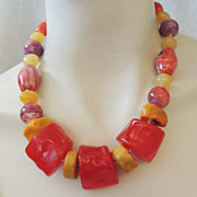 Vintage Chunky LUCITE Fabulous Multi Color Necklace