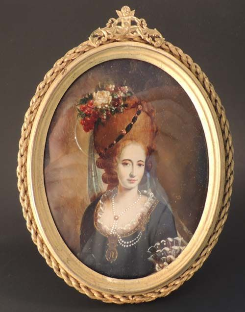 Antique Hand Painted Portrait of Lady on Copper in Oval Frame