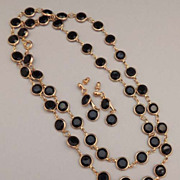 Vintage Black LUCITE Bezel Set Necklace and Earrings Set