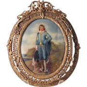Miniature Hand Painted Framed Blue Boy By Gainsborough - Exquisite 20th Century Copy