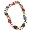 Bezel Set Jewel Color Crystal Vintage Chunky Gold Link Chain Bracelet