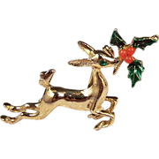 Vintage Leaping Reindeer Christmas Brooch Pin