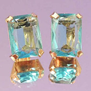 Aqua Blue Crystal Vintage Translucent Earrings