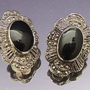 Vintage Oval Marcasite Black  Stone Silver Earrings