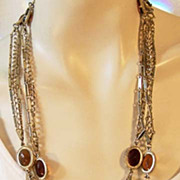Fabulous Versatile Vintage Bezel Set AMBER GLASS Chain Necklace
