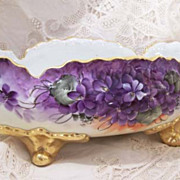 SOLD Bavarian Hand Painted Violet Floral Vintage Footed Console Bowl