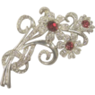 Vintage Red & Clear Rhinestone Flower Brooch - Stunning 1940's