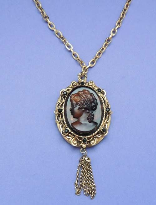 Vintage Amber Lady Cameo Locket Pendant Chain Necklace
