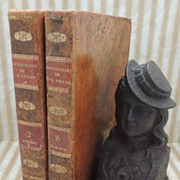 SOLD Pair 1834 Decorative Leather Books - Biographie Dictionnaire Historique