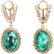 Elegant Vintage Glue Green Art Glass and Rhinestone Drop Earrings