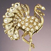 1928 Flamingo Bird Brooch Large Vintage Rhinestone Plumed Bird Pin