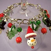 Christmas Charm Bracelet -Vintage Poured Glass Snowman Beads