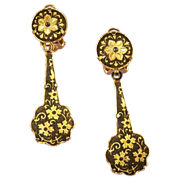 DAMASCENE Vintage Floral Long Drop Earrings
