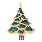 Christmas Tree Brooch - Green Enamel With Ornaments