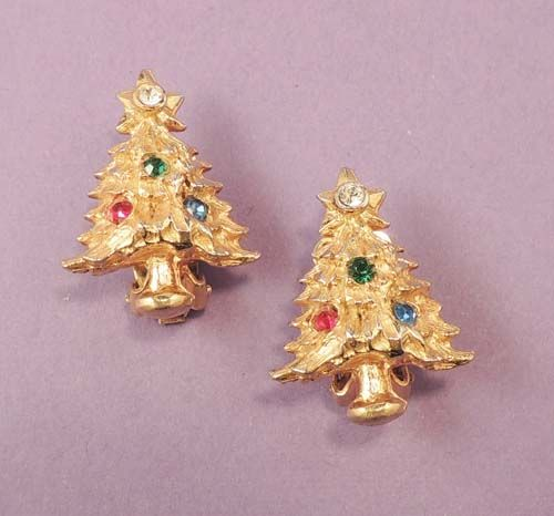 Dainty Vintage Rhinestone Christmas Tree Earrings