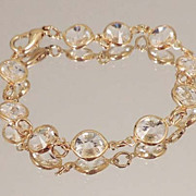 BEZEL SET Clear Rivoli Crystal Chain Bracelet
