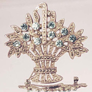 1928 MARCASITE Flower Basket Vintage Signed Blue Rhinestone Silver Brooch Pin