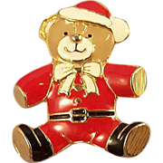 Vintage Red Enamel Teddy Bear Christmas Brooch Pin