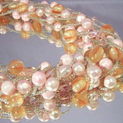 Gorgeous Vintage Multi Strand Pink Bead Necklace