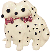 White Enamel Christmas Dalmatian Dog Brooch Pendant