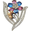 ART DECO Vintage Raspberry & Blue Crystal Flower  Brooch Pin