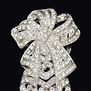 ART DECO Vintage Bow Rhinestone Brooch Pendant