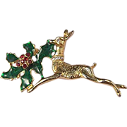 Vintage Christmas Reindeer and Holly Holiday Pin