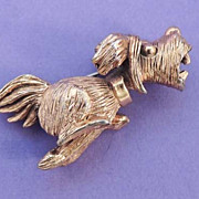 RARE TORTOLANI Vintage Signed Gold Dog Brooch Pin