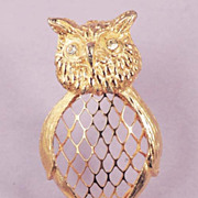 Figural Owl Brooch Wonderful Gold Wire Open Work