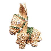 GROSSE 1968 Germany Burro Donkey Rhinestone Brooch - RARE!