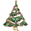 Festive Green Enamel Rhinestone Christmas Tree Brooch