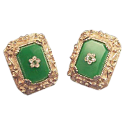 LUCITE Green and Floral Rhinestone Earrings