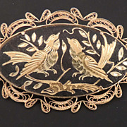 DAMASCENE Vintage Oval Black and Gold Bird Brooch