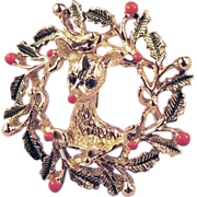 GERRY'S Enamel Holly Wreath and Reindeer Christmas Brooch